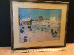 "J.G. McGill framed ""Recess at First Snow"" S/N 530/950 Measures 25 x 21"