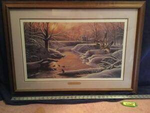 "Patrick J Costello framed ""Early Arrivals"" S/N 27/380 Measures 33 x 23"