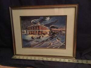 "Patrick J Costello framed & signed ""Galena Depot"" Measures 16 x 13"