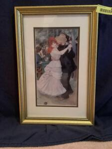 "Renoir reproduction ""Dance at Bougival"" Measures 12 x 18"