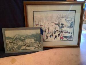 Two pieces of Grandma Moses art Measure 23 x 15 and 24 x 29