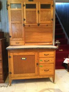 McDougall Hoosier cabinet Measures 40 x 25 x 72 Includes grape pattern linens specially made for cabinet