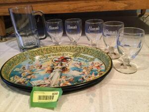 Anheuser-Busch oval tray w 5 Hamms glasses and one large unmarked beer glass