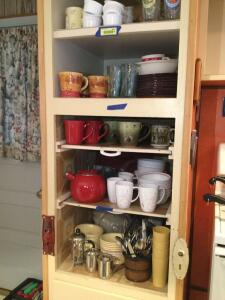 Silverware, Corelle dishes, tea pot, ramekins, drinking glasses, coffee mugs and more