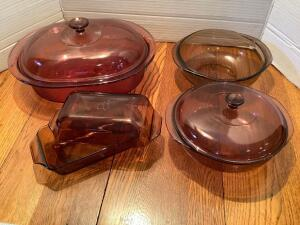 Five pieces of colored Pyrex-2 small loaf pans, casserole w/out lid, casserole w lid and roaster w lid