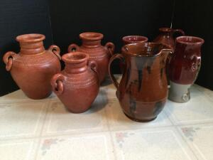 7 pieces of modern stoneware-ceramic pitcher vases, jugs, 3 double ring handled Mexican vessels