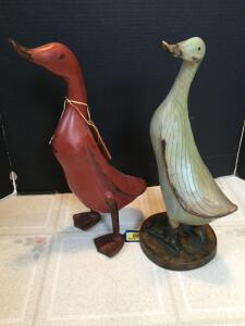Two wooden decorator duck figurines