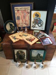 Several pieces of Norman Rockwell art and Saturday Evening Post type stuff-four bells, two prints, two tin trays, four small Saturday Evening Post trays and figurines
