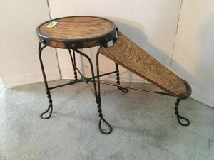 Antique ice cream parlor style shoe salesman stool and footrest with wrought iron legs