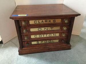 "Excellent 4-drawer Clark's spool cabinet All drawers are correct, two pulls differ from the rest Measures 17"" x 23""W x 17""H"
