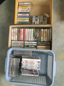 Music lovers variety lot-cassette tapes and DVDs include Elvis, Willie, Neil Diamond, Andy Williams, Brad Paisley and more