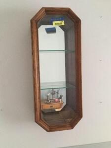 "Small wall mount octagon hanging curio cabinet 7""D x 12""W x 29""H with glass shelves and mirrored back"