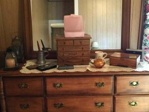 5 drawer oak jewelry box, a cedar dresser box, clock radio, carnival looking bud vase, a candle, an electric lantern, misc. jewelry and rosary beads