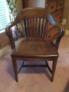 Depot style walnut wrap around arm chair
