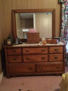 "Hard Rock maple 8 drawer dresser with mirror Measures 18""D x 60""L x 67""H Made by the Ballman Cummings Furniture Company Fort Smith Arkansas"