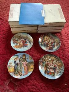 "Six Stewart Sherwood Dominion china collector plates ""A Victorian Christmas"" Boxes labeled accordingly"