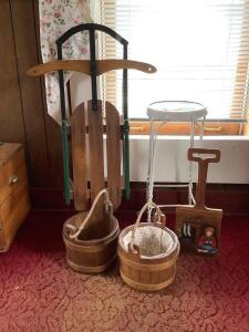 "Jack & Jill's water pails, child size runner sled, hand painted ""shovel"" and 2' ice cream parlor type stool"