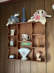 Wall shelf and decor on it-Lefton vase, wooden spool, trinket box, and six Mary Vickers collector plates