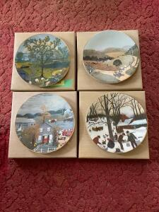 "Four Grandma Moses ""Memories of America"" plates-Rainbow, The Old Automobile, Halloween and Bringing in The Maple Sugar. All w Certificates of Authenticity"