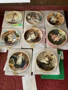 "Eight Royal Doulton Charles Burton Barber collector plates ""A Victorian Childhood"" series with Certificates of Authenticity See list for plate names"