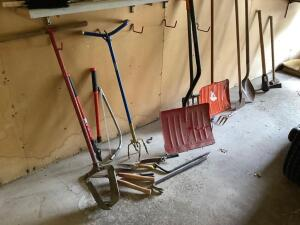 Yard tools-Claw, post hole digger, pry bar, pruners, snow shovel, hoe, sledge hammer, Fiskar potato fork, spade, and more