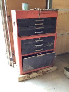 Two piece toolbox and contents Top measures 26 x 12 x 14 and bottom measures 27 x 18 x 30