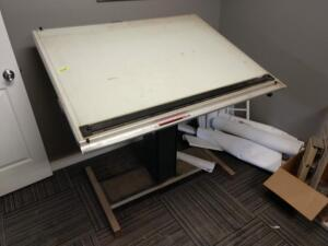 36 in by 50 in electric adjustable drafting table