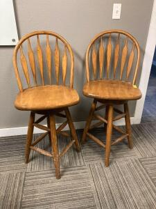 2 - 25 in tall bent back Maple bar stools
