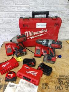 M18 Milwaukee cordless drill and impact driver, two chargers, four Batteries, 2 drill bit sets