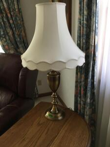 "Pair of matching table lamps, 35"" tall."