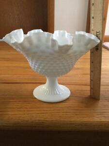 Fenton hobnail milk glass ruffled edge comport