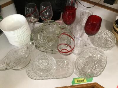 Stemware, relish trays, salad bowl, Corelle salad bowls