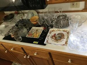 Very heavy beautiful pieces of crystal, including Gorham full lead crystal vase, Towle full lead dish, Williams-Sonoma, cake stand, seasonal dishes. One dish does have small chip, see all photos.