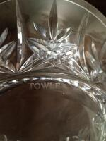 Very heavy beautiful pieces of crystal, including Gorham full lead crystal vase, Towle full lead dish, Williams-Sonoma, cake stand, seasonal dishes. One dish does have small chip, see all photos. - 5