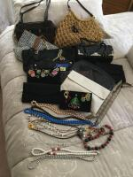 Handbags, clutches and costume jewelry including Michael Kors purse with chain handle, Fossil, Brighton, and more.