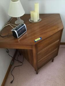 "Harmony House 3-drawer mid-century modern corner dresser. Measures 32"" L x 36"" W x 30"" H. Glass Lamp, 3 battery operated flicker candles and Timex alarm clock/radio included."