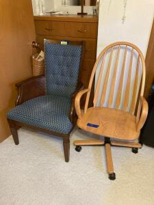Morganton Chair, Inc. Captain's chair with blue upholstery (seat is worn) and an oak swivel desk chair on casters with arms.
