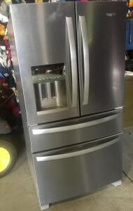 Whirlpool 24.5 cu.ft 4 dorr French Refrigerator with Ice Maker-approximately 2 years old, working condition. It has a small blemish on front door, hardly noticable-was an insurance claim because of door 36 wide, 34 wide 70 high