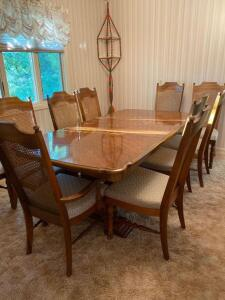 "Broyhill Dining room table with 10 chairs (2 are captain), 2 - 18"" leaves"