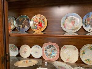 Collector plates, hand painted dishes, small creamer bottle