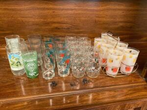 Vintage drinking glasses with carrier, various glasses