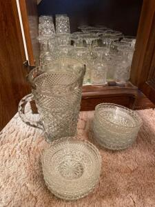 Diamond pattern vintage pitcher and glasses, bowls