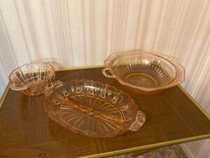 Three pink depression glass pieces (large bowl is chipped)