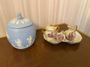 Blue vintage lid dish, hand painted cream and sugar set