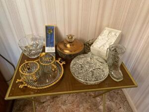 Glassware, glass rose, gold trimmed cream & sugar set and more