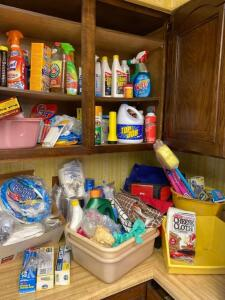 Cleaning supplies, paper products, soft small cooler