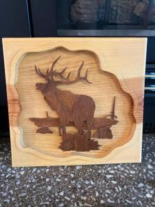 Signed and numbered wood carved elk wall art