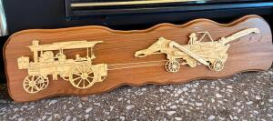 Signed and numbered wood carved farm wall art