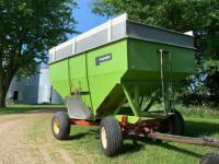 "Parker Model 2500 gravity wagon w/ Knowles gear with 12.5 - 15 tires comes with spare tires and rim,  12"" extension plus 2 x 6 board"