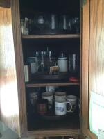 Glasses, mugs, stemware, vases, Corningware sauce pans, lots of other miscellaneous. Bring boxes for this lot!